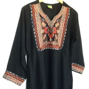 Tops - Bohemian Embroidered Tunic Top